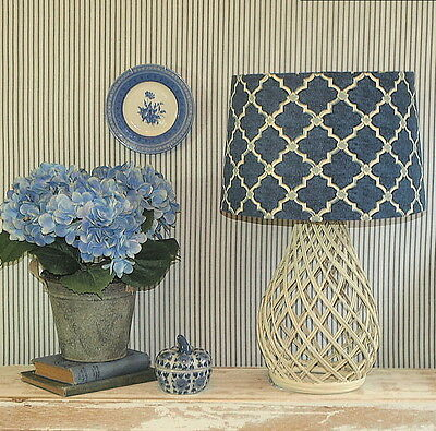 Aus Made Lampshade Blue/Ivory Trellis 2 Sizes 2 Fittings Made to Order 1-2 weeks