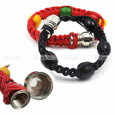 Metal Bracelet Smoke Smoking Tobacco Pipe Jamaica Rasta Portable Knitting Rope
