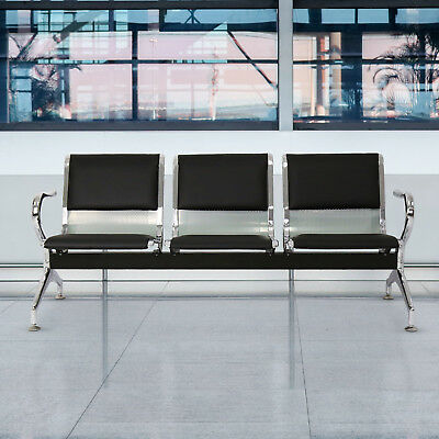 Kinbor 3-Seat PU Leather Steel Waiting Chairs Airport Bank Waiting Room Seating