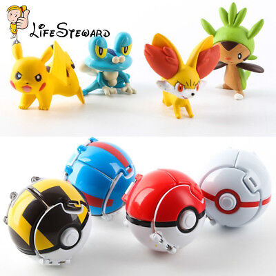 Bounce Pokemon Throw Pokeball Cosplay Pop-up Ball + Action Figures Doll Kids Toy