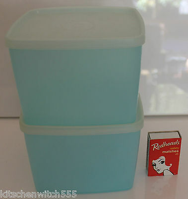 2 Tupperware Aqua Blue Containers White Opaque Lids Square Storage Pantry