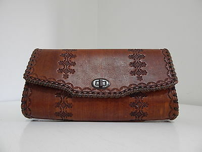 Genuine Vintage Honey Brown Leather Hand Tooled Pattern Large Purse Clutch