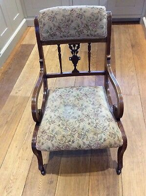 Antique Edwardian Pretty ladies or child's partly upholstered mahogany armchair