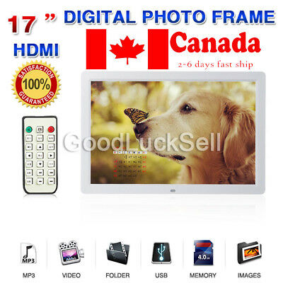"""17""""HD 1080P LED Digital Photo Picture Frame Movie Player Remote Control White CA"""