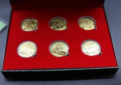 1+6 set Chinese Giant Panda Gold Coin 24K gold plated Gold Coin