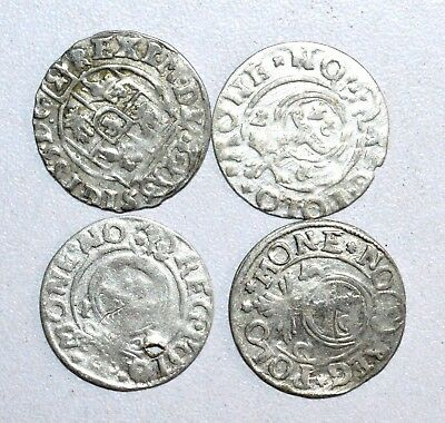 Lot Of 4 Medieval Silver Hammered Coins - Ancient Artifact Stunning - M744