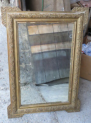 Antique mirror frame wood and plaster golden vintage french antique mirror