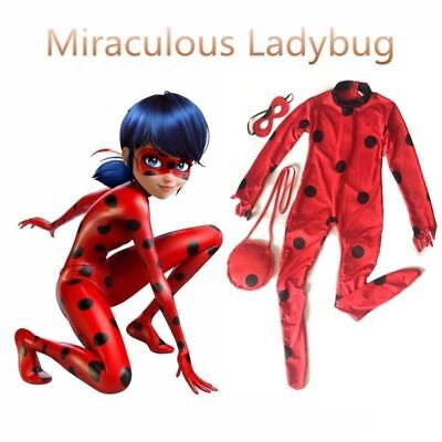 Kid Girls Miraculous Ladybug Fancy Dress Cosplay Costume Mask Bag Jumpsuit SNO