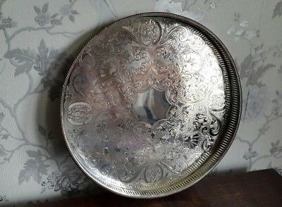 A Vintage Silver Plated Galleried Tray with Engraved Centre