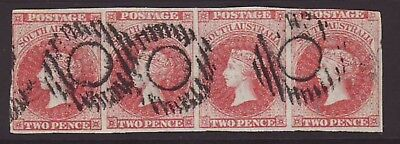 South Australia 2d Brick-Red Clean Strip of 4 fine used  & SCARCE, SG 9