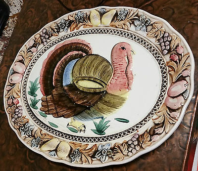 "Vintage Extra Large ""embossed Turkey Serving Platter"" Plate/charger"