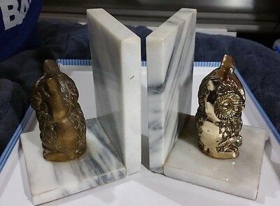"""VINTAGE SOLID BRASS HEAVY"""" SOLID OWL & MARBLE BOOK ENDS"""" 16cm MARBLE 10cm OWL"""