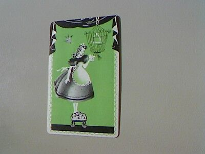 1 Single Swap/Playing Card - Lady at Birdcage