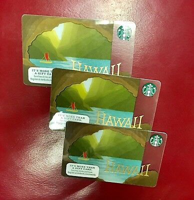 Starbucks Gift Cards No Value Lot of Three Hawaii Sail Boat Canoe Ocean Caves