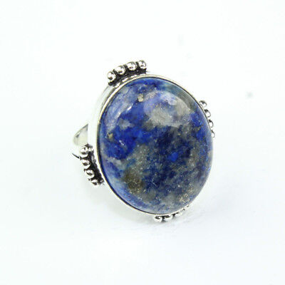 925 Sterling Silver Overlay Lapis Lazuli Ring Sz 7.5 Handmade Fashion Jewelry