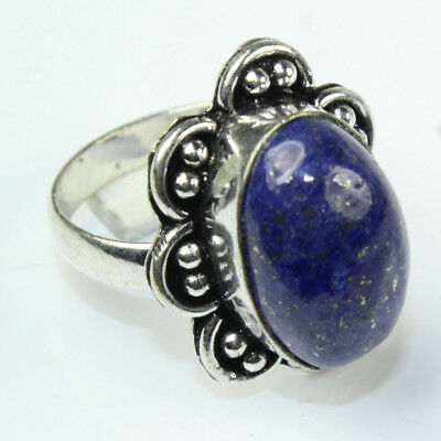 925 Sterling Silver Overlay Lapis Lazuli Ring Sz 8.5 Handmade Fashion Jewelry