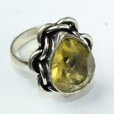 925 Sterling Silver Overlay Citrine Ring Sz 7.5 Handmade Fashion Jewelry