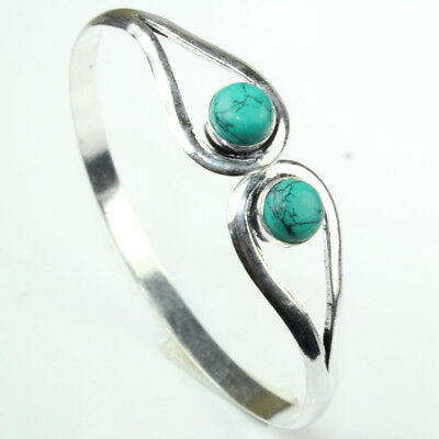 925 Sterling Silver Overlay Turquoise Bangle Handmade Fashion Jewelry
