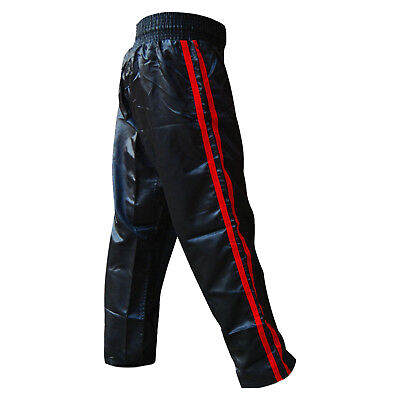Kick Boxing Trousers Training Pants Black with Stripes Satin Adults