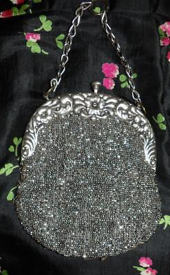 ANTIQUE VTG VICTORIAN German Silver FLOWER FRAME Chain Handle DRESS BEADED PURSE