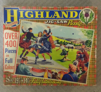 Old Boxed Philmar Jigsaw Puzzle Scottish Highland Games Shot Put & Sword Dancing