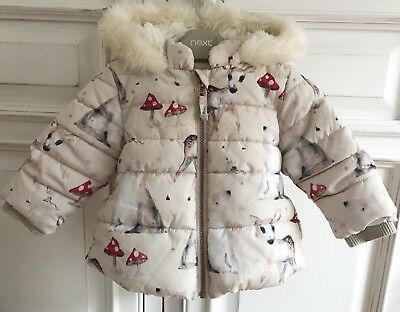NEXT ***6-9m GIRLS WINTER PADDED  COAT JACKET FLEECE LINED AGE 6-9 MONTHS