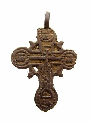Late / Post Medieval Bronze Cross Pendant - Rare Wearable Artifact Stunning M578