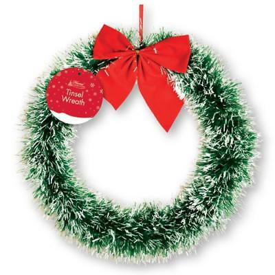 Luxury Round Xmas Tinsel Wreath With Red Bow Festive Decoration Front Door