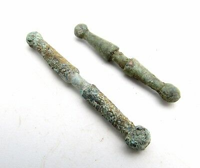 Lot Of 2 Celtic Bronze Toggles Fastener - Rare Ancient Historic Artifacts - M594