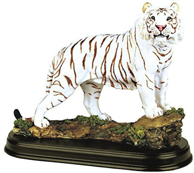 Animal Figurine White Tiger Collectible Wild Cat Statue Polyresin Home Decor