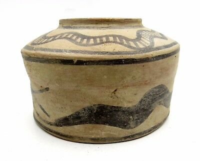 Indus Valley Terracotta Jar W/ Snake Motif - Very Rare Artifact Lovely - L254