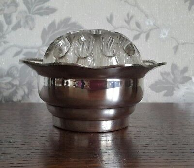 A Vintage Silver Plated & Glass Rose Bowl by Arthur Price