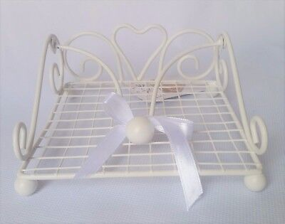 BNWT Gorgeous Chic Chalk White Powder Coated Metal Napkin Holder *Superb Gift*