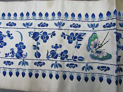 Antique Chinese Silk Embroidery 19Th Century Qing Dynasty Butterflies Flowers
