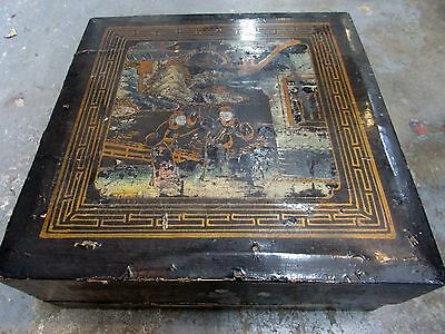 Antique Japanese Lacquered Hand Painted Box Kimono Tea Set