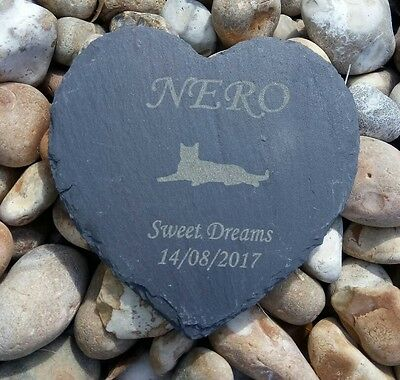 Personalised Engraved Slate Heart Pet Memorial Grave Marker Plaque Pussy cat