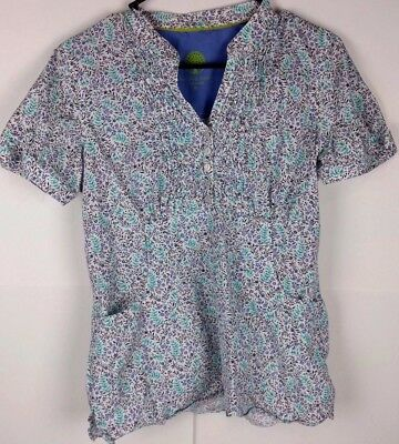 Women's Healing Hands Scrub Top White Floral Print Size Medium Free Shipping