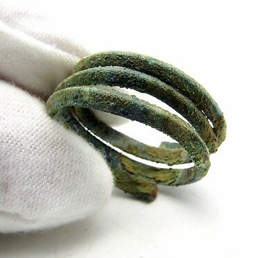 Celtic/bronze Age Ring Shaped As Coiled Snake - Wearable Artifact Rare - P118