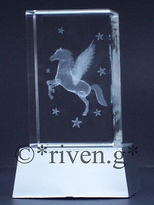CRYSTAL PEGASUS Laser Block@L.E.D. Display Stand@3D MYTHICAL WINGED PAPER-WEIGHT