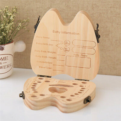 Wooden Children Kids Tooth Box Organizer Baby Save Milk Teeth Storage Case Box