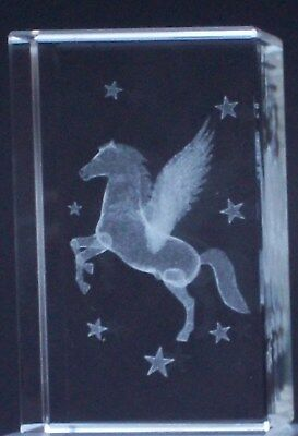 CRYSTAL PEGASUS Laser Block@3D MYTHICAL WINGED FANTASIA HEROIC PAPER-WEIGHT GIFT