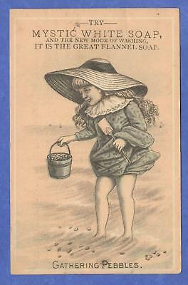 Mystic White Soap, Young Girl, Gathering Pebbles Victorian Trade Card Late 1800s