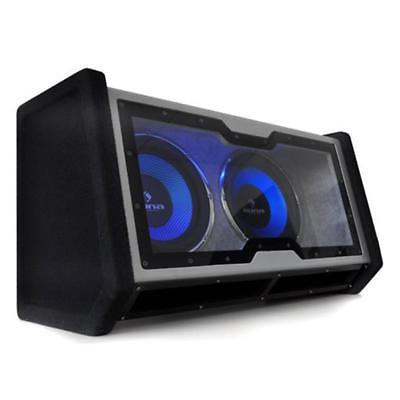 "Dual Twin Subwoofer Double 12"" Bass Box Led Sub 1200W"