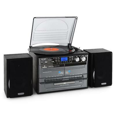 Vinyl Player Stereo Music System Turntables Double Tape Deck Cd Mp3 Encode Usb