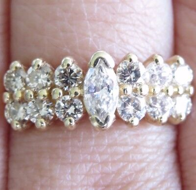 Beautiful Genuine 1.00ct Diamond Cocktail Ring 14K Solid Yellow Gold