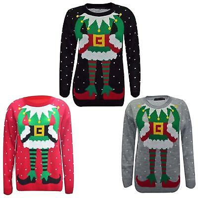 Womens Xmas Joker Print Jumper Novelty Vintage Festive Sweater Pullover Top 8-26