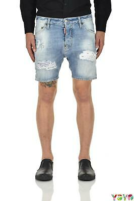 Dsquared2 Shorts Jeans Strappato + taglie  - Blu - Made in Italy