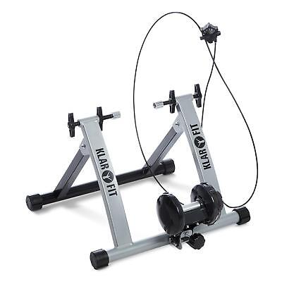 Silver Portable Indoor Bicycle  Machine Trainer Magnetic Resistance Stand Gym