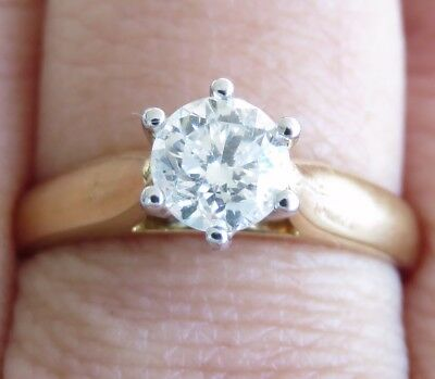 Sparkling Genuine 0.70ct Diamond Solitaire Ring 18K Solid Yellow Gold