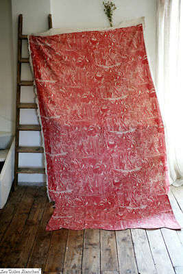 Stunning antique French TOILE DE JOUY long QUILTED pannel c1850